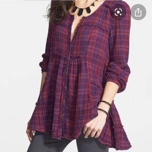 Free People Whistle While Work Plaid Tunic Large
